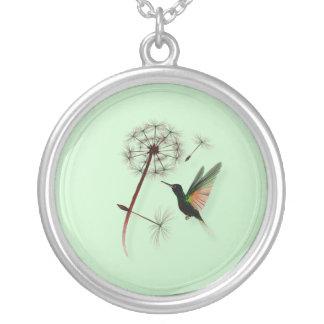 Dandelion and Little Green Hummingbird Necklace
