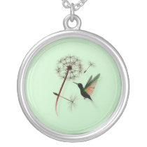 Dandelion and Little Green Hummingbird Necklace