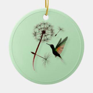 Dandelion and Little Green Hummingbird Ornaments
