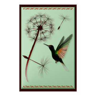 Dandelion and Little Green Hummingbird Poster
