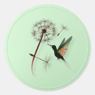 Dandelion and Little Green Hummingbird Stickers