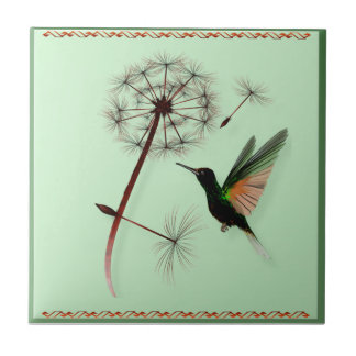 Dandelion and Little Green Hummingbird Tile