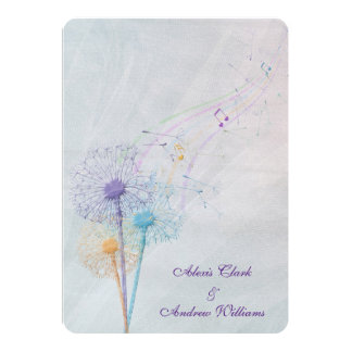 dandelion and musical notes on wedding tulle card