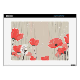 Dandelion and poppy flowers illustration quote decal for laptop