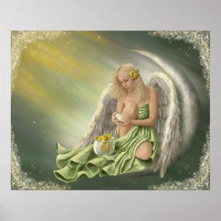Dandelion Angel Moon Poster