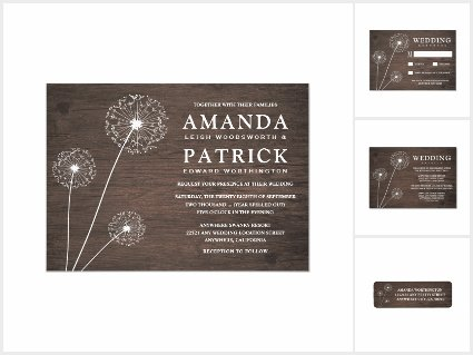 Dandelion Barn Wood Wedding Invitations Set
