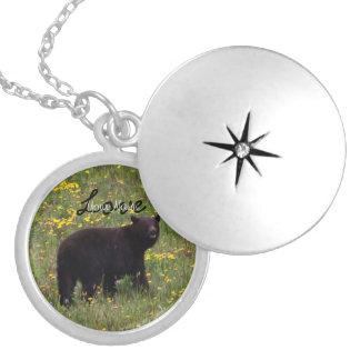 Dandelion Bear; Customizable Round Locket Necklace