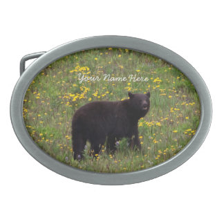 Dandelion Bear; Customizable Oval Belt Buckle