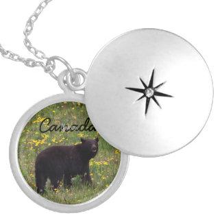 Dandelion Bear; Yukon Territory Souvenir Round Locket Necklace