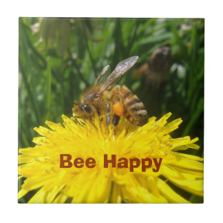 Dandelion Bee Happy Tile