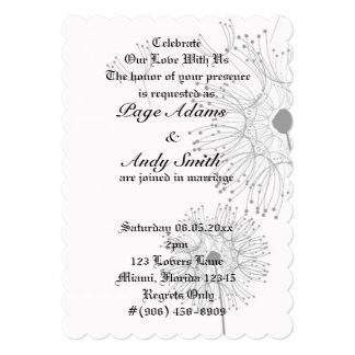Dandelion Blossoms Vines Flowers Romantic Wedding Card
