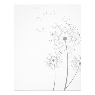 Dandelion Blossoms Vines Romantic Wedding Shower Letterhead Template