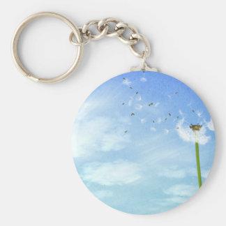Dandelion Blue Sky Nature Illustration Keychain