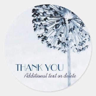 Dandelion Blue Thank You Classic Round Sticker