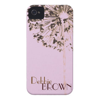 Dandelion Brown on Pink Case-Mate iPhone 4 Case