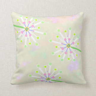 Dandelion Bubble Flowers On Watercolor Throw Pillow