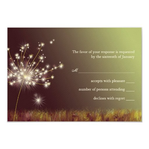 Dandelion Burgundy n Light Green Wedding RSVP 3.5x5 Paper Invitation Card
