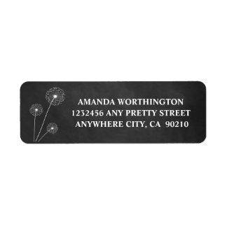 Dandelion Chalkboard Rustic Wedding Address Labels