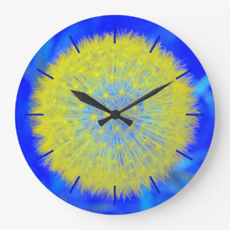 Dandelion clock in yellow and blue, with hours