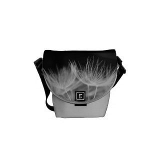 Dandelion Closeup in Black White Courier Bag