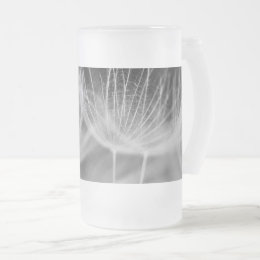 Dandelion Closeup in Black White Frosted Glass Beer Mug