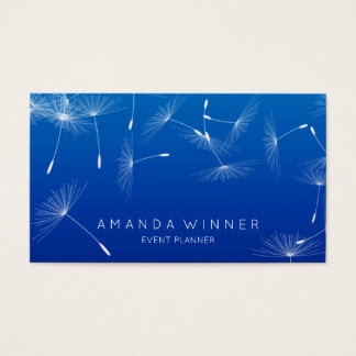 Dandelion Confetti Cobalt Blue Glam Ombre Event Business Card