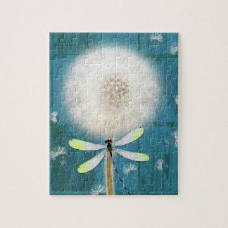 Dandelion dragonfly rustic blue barn wood jigsaw puzzle