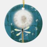 Dandelion dragonfly rustic blue barn wood christmas tree ornaments
