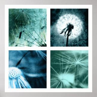 Dandelion especie - Pusteblume arte Colage 2012 00 Póster