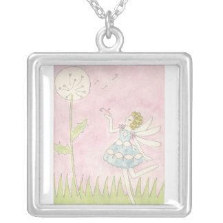 Dandelion Fairy Square Pendant Necklace