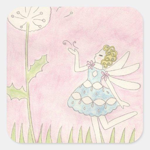 Dandelion Fairy Square Sticker