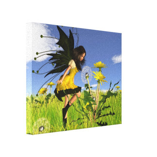 Dandelion Fairy with Springtime Background Canvas Print