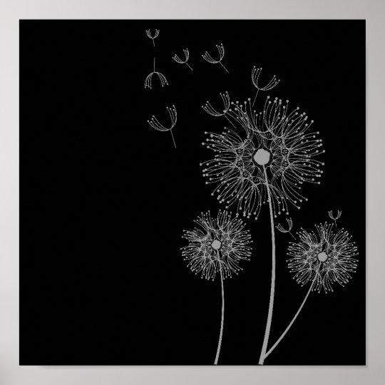 Dandelion flower black and white art poster zazzle dandelion flower black and white art poster mightylinksfo