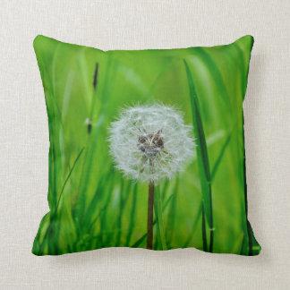 Dandelion Flower in the Green Grass Throw Pillow