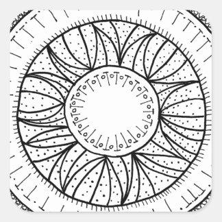 dandelion flower mandala square sticker
