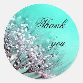 Dandelion Flowers Aqua Blue Wedding Thank You Classic Round Sticker