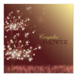 """Dandelion Glitz Floral Wedding Couple Shower 5.25"""" Square Invitation Card"""
