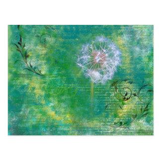 Dandelion Grunge Background Post Card