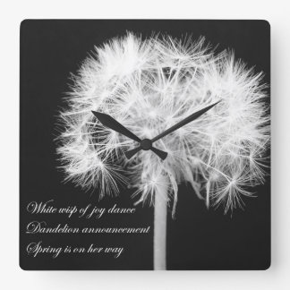 Dandelion Haiku Wall Clock