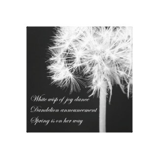 Dandelion Haiku Wrapped Canvas