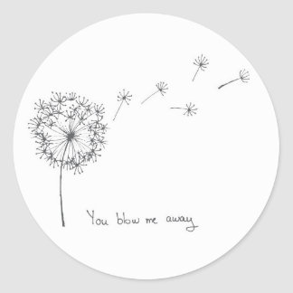 Dandelion hand illustrated funny Valentines card Classic Round Sticker