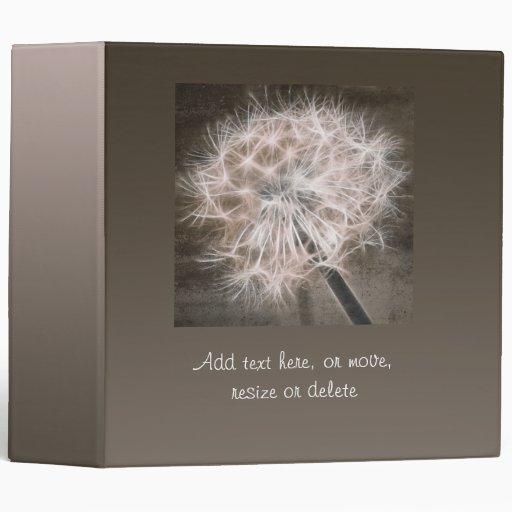 dandelion in brown binder