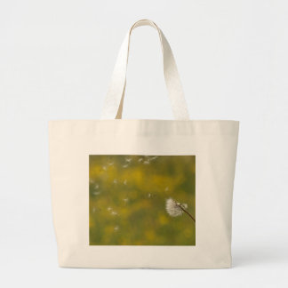 Dandelion in the wind large tote bag