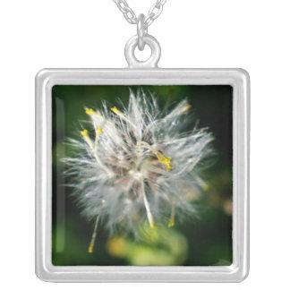 dandelion square pendant necklace