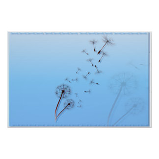Dandelion on Baby Blue Posters
