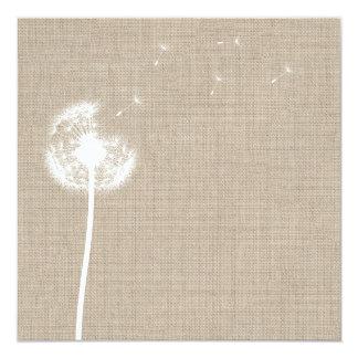 Dandelion on Burlap Blank Invitation