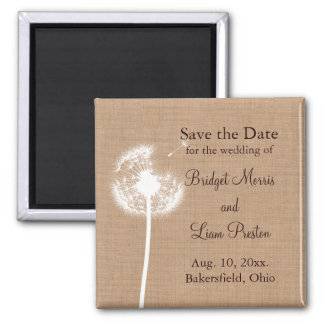 Dandelion on Burlap Save the Date Magnet