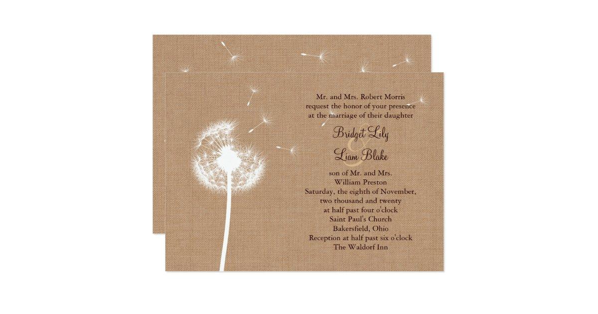 dandelion on burlap wedding invitation zazzle