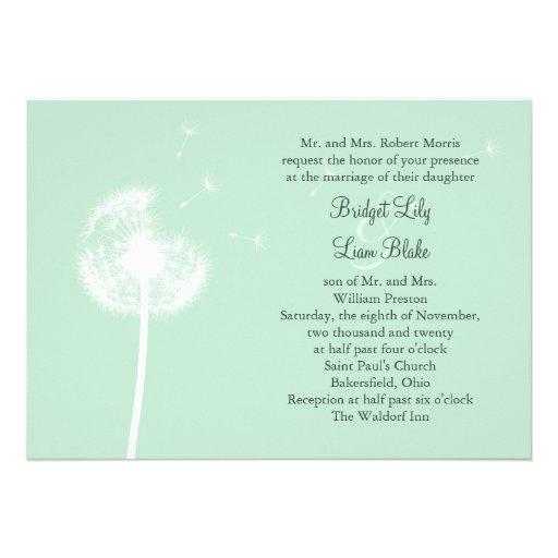 dandelion on mint wedding invitation zazzle