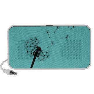 Dandelion on teal background portable speakers